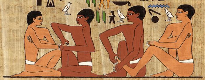 origine du massage des mains et des pieds en Égypte antique fresque pictogramme Saqqara