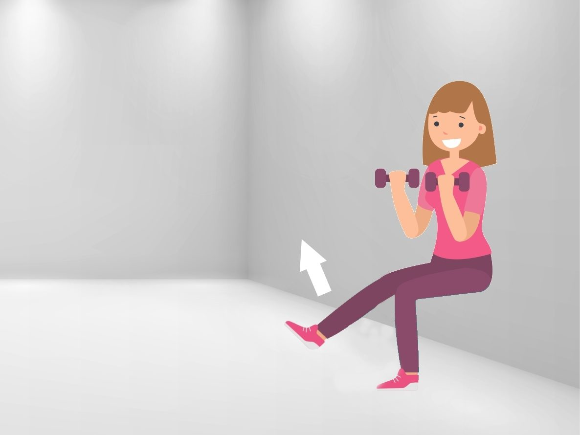 exercice chaise variante une jambe